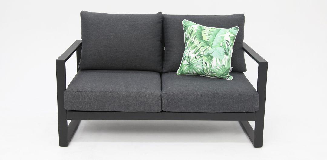Dallas Black Grey 2 seat sofa