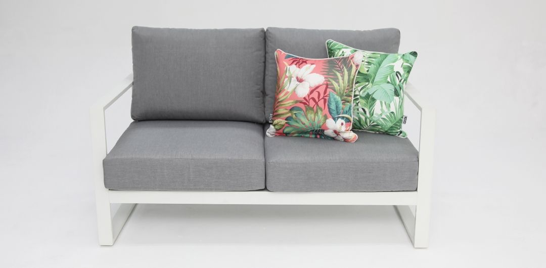 Dallas White Grey 2 seat sofa