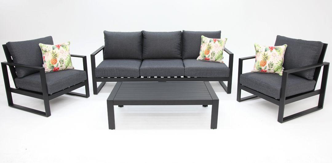 Dallas aluminium 4 piece lounge setting black/grey 311CT