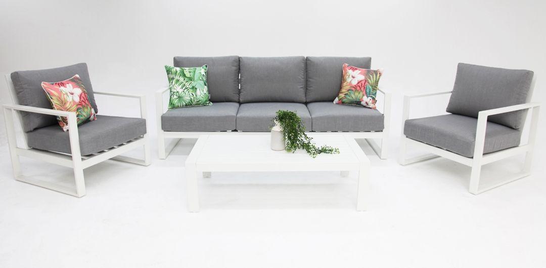 Dallas aluminium 4 piece lounge setting white/alpha grey 311CT