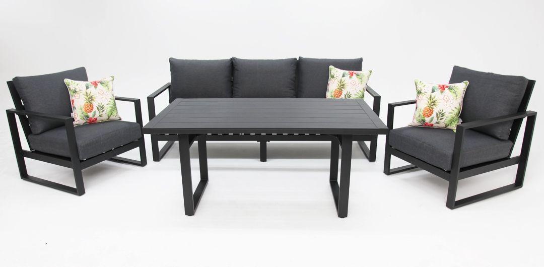 Dallas aluminium 4 piece lounge setting black/grey 311LD