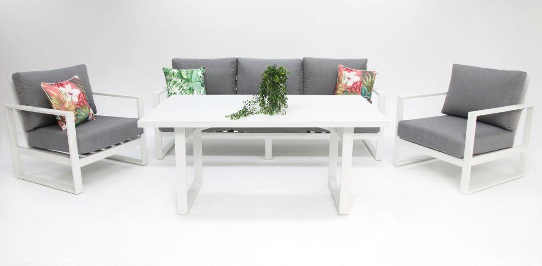 Dallas aluminium 4 piece lounge setting white/alpha grey 311LD