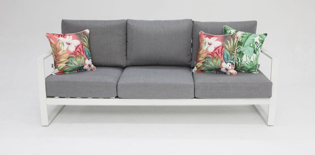 Dallas aluminium 3 seater lounge white/alpha grey