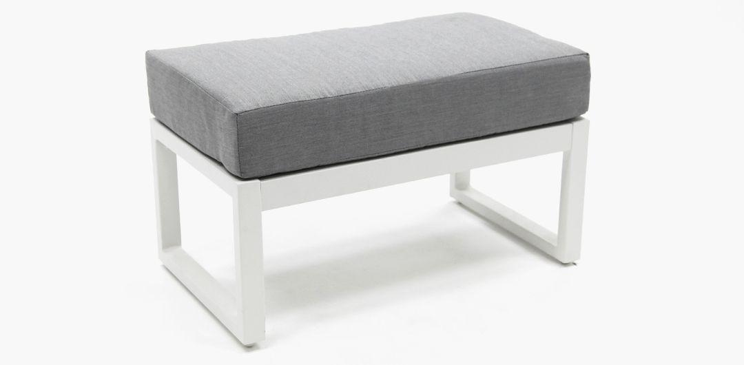 Dallas aluminium footstool white/alpha grey