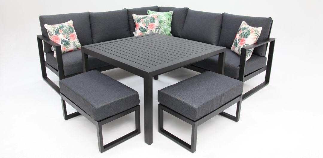 Dallas aluminium corner lounge setting black/grey
