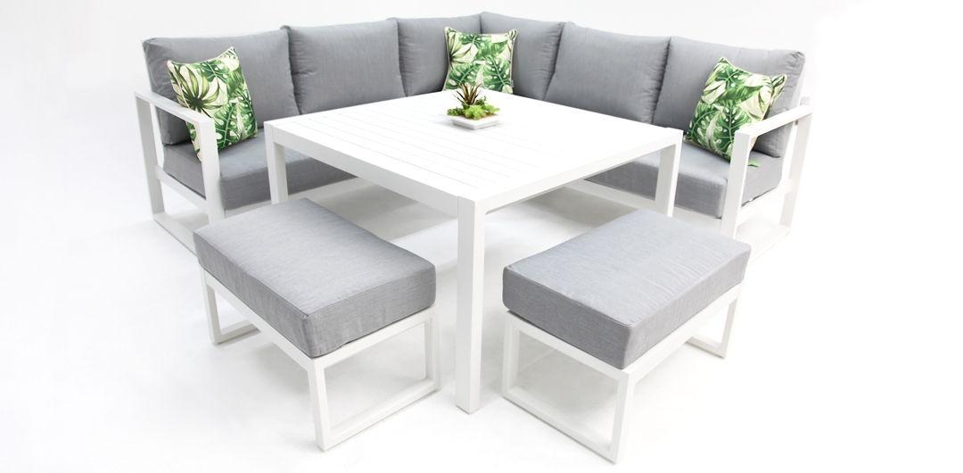 Dallas aluminium corner lounge setting white/alpha grey