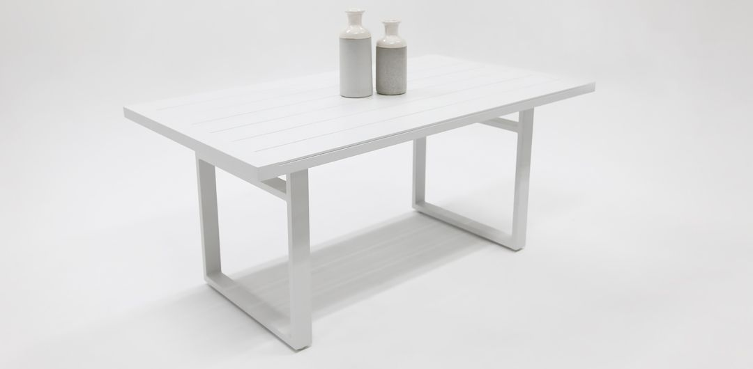 Dallas White Lounge Diner table 150cm Rectangle