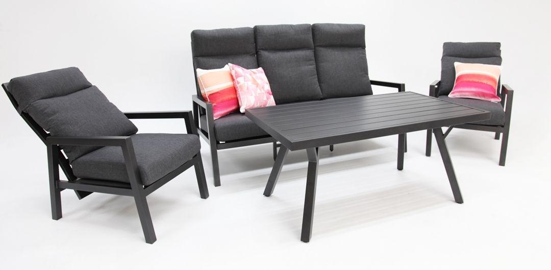 Eden aluminium 4 piece recline lounge setting anthracite/dark grey