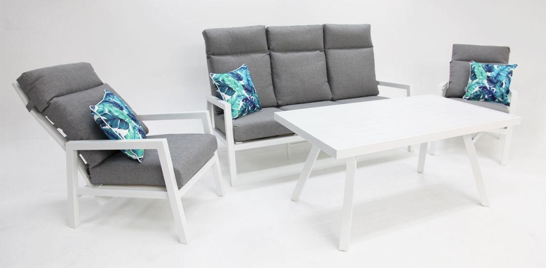 Eden aluminium 4 piece recline lounge setting white/light grey