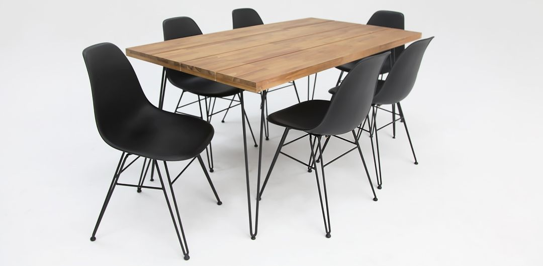 Everglade 165cm black table and x6 Everglade black dining chairs
