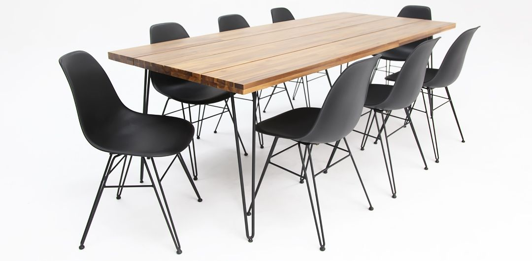 Everglade 230cm black table and x8 Everglade black dining chairs