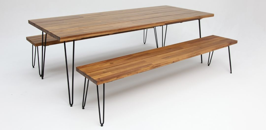 Everglade 230cm black table and x2 215cm black benches