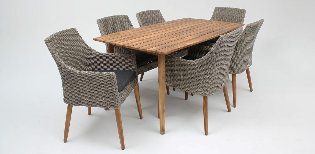 Copenhagen 165cm table / Faro chair 7 piece timber dining setting natural kobo grey
