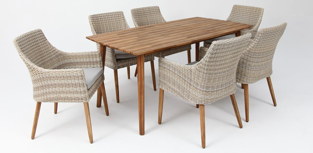Copenhagen 165cm table / Faro chair 7 piece timber dining setting mixed white natural