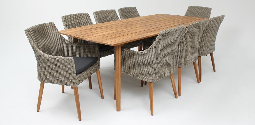 Copenhagen 240cm table / Faro chair 9 piece timber dining setting natural kobo grey
