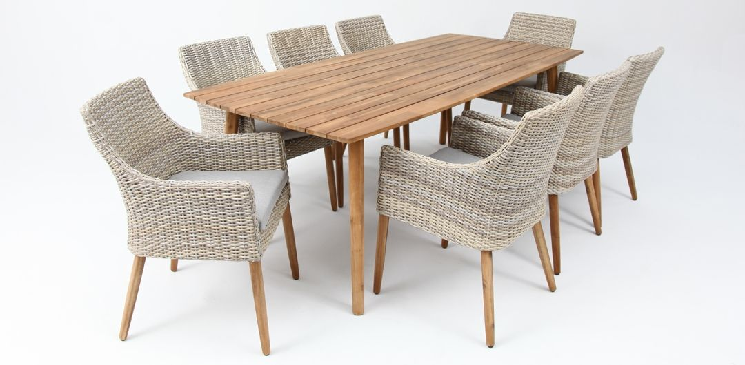 Copenhagen 240cm table / Faro chair 9 piece timber dining setting mixed white natural