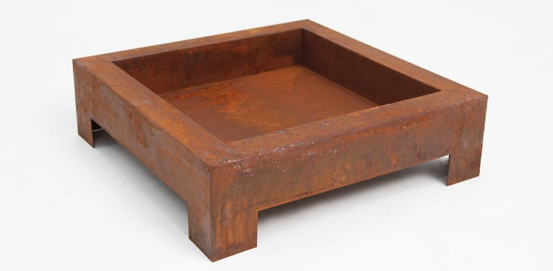 Square fire pit rust large