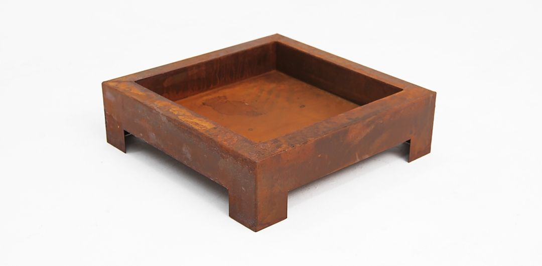 Square fire pit rust small