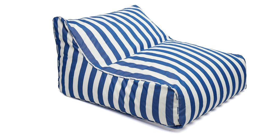 Hang Out double outdoor beanbag navy and white stripe