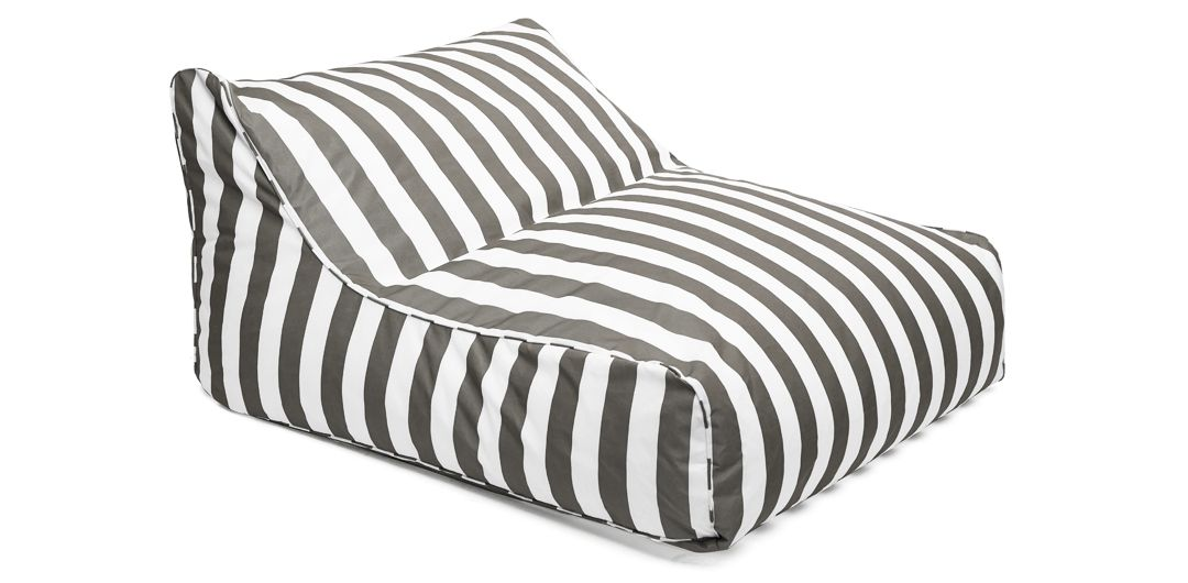 Hang Out double outdoor beanbag taupe and white stripe