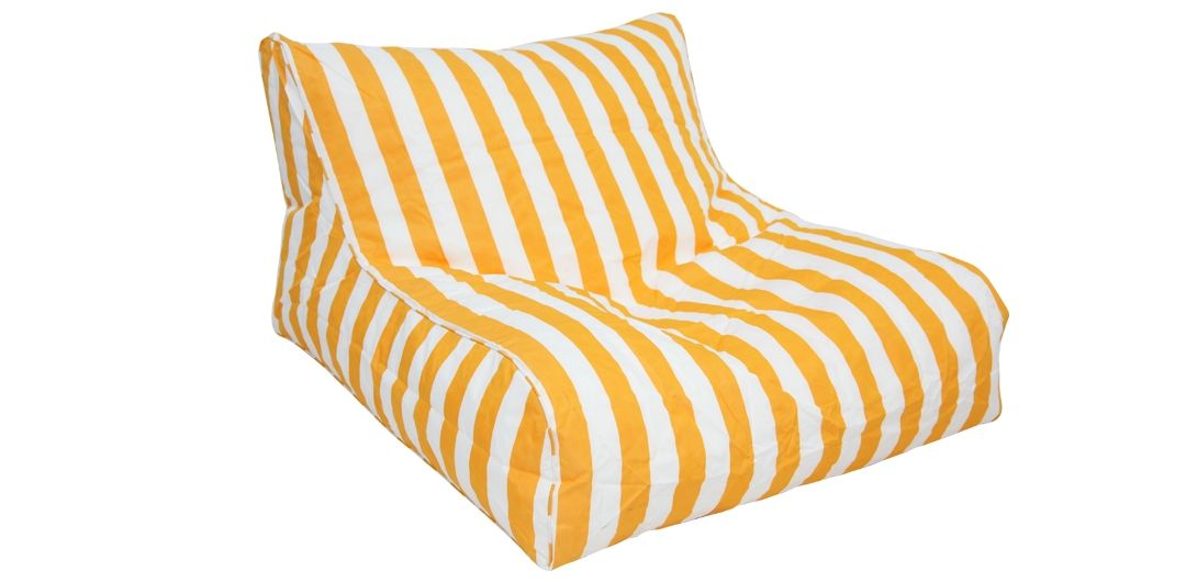 Hang Out double outdoor beanbag yellow and white stripe