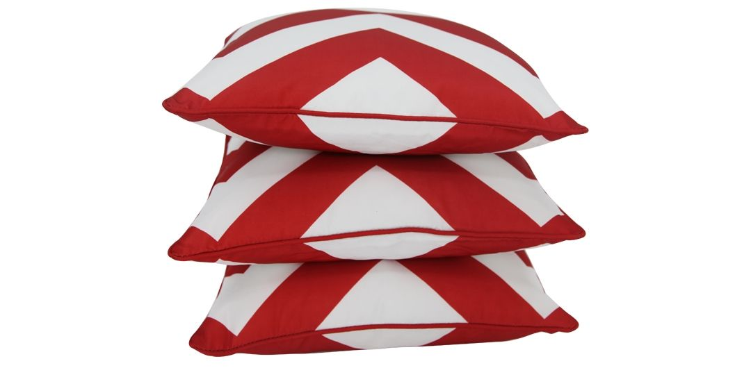 Set of 3 Indo Soul blood red and white large aztec 45x45cm outdoor scatter cushions