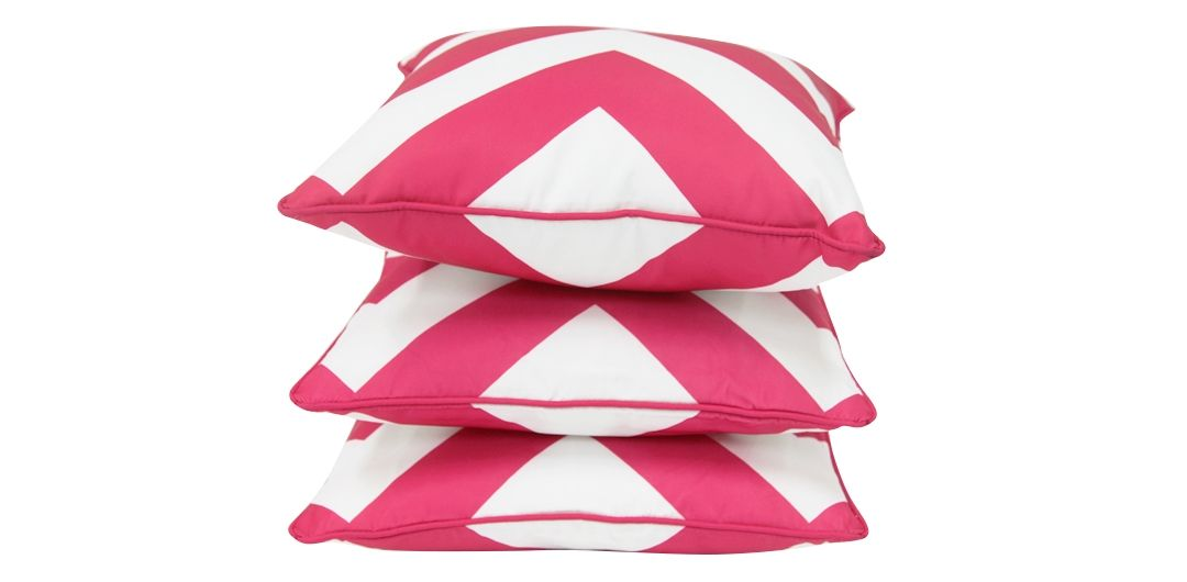 Set of 3 Indo Soul pink and white large aztec 45x45cm outdoor scatter cushions