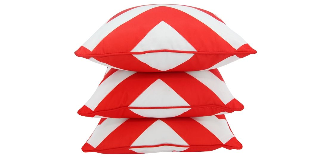 Set of 3 Indo Soul red and white large aztec 45x45cm outdoor scatter cushions