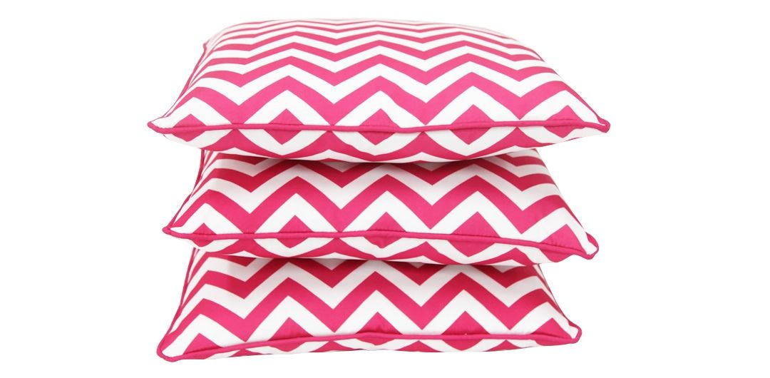 Set of 3 Indo Soul pink and white narrow aztec 45x45cm outdoor scatter cushions