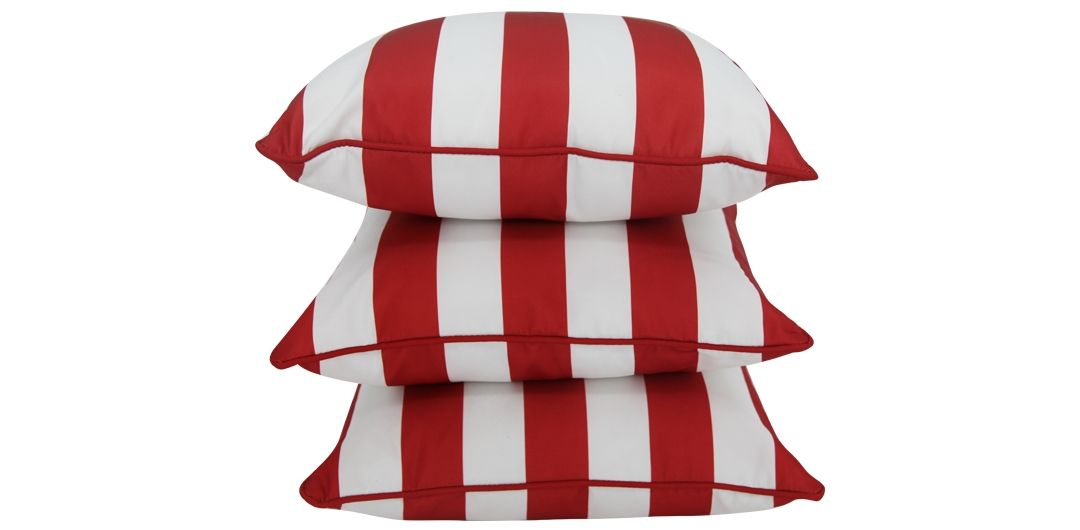 Set of 3 Indo Soul blood red and white striped 45x45cm outdoor scatter cushions