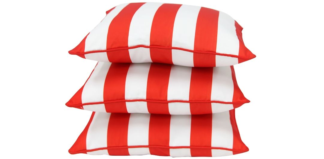 Set of 3 Indo Soul red and white striped 45x45cm outdoor scatter cushions