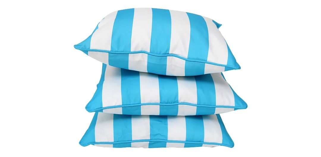 Set of 3 Indo Soul turquoise and white striped 45x45cm outdoor scatter cushions