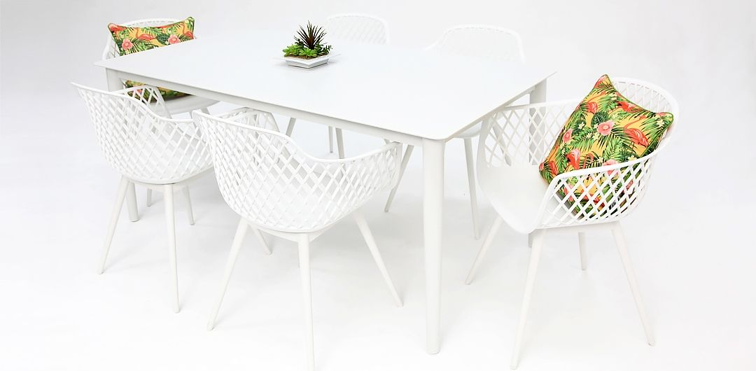 Java 7 piece dining setting white