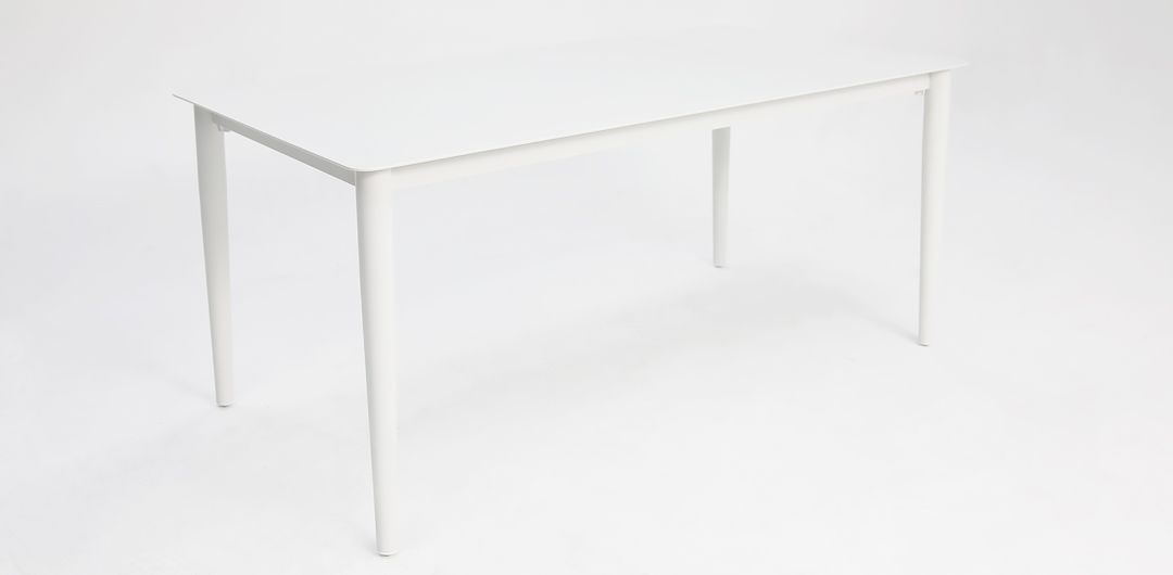 Java 210cm aluminium dining table white