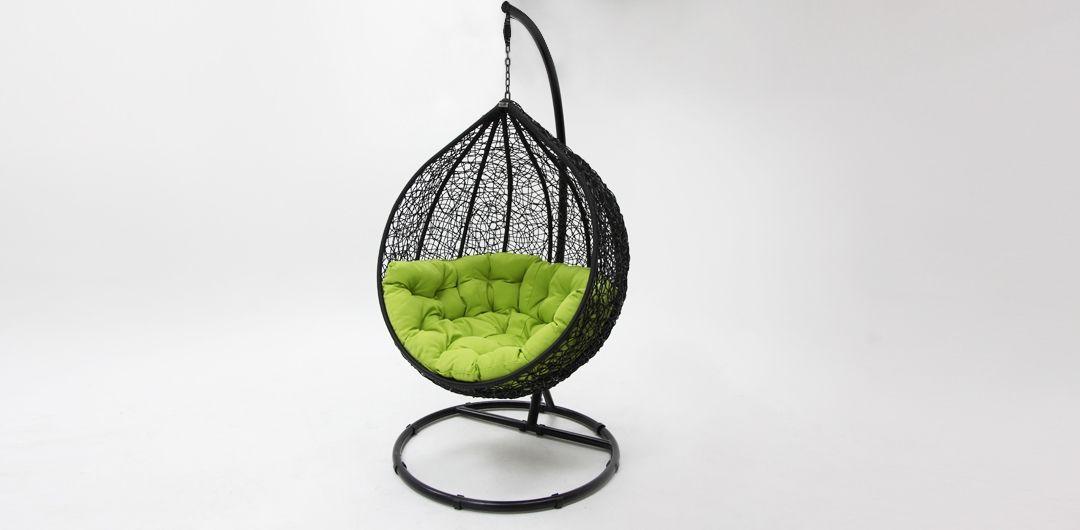 Kakadu premium pod chair black pod with green cushion