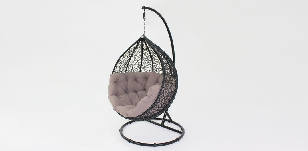 Kakadu premium pod chair black pod with mushroom cushion