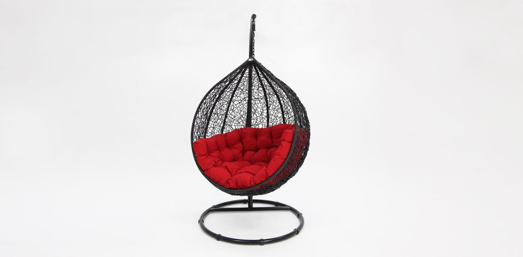 Kakadu premium pod chair black pod with red cushion