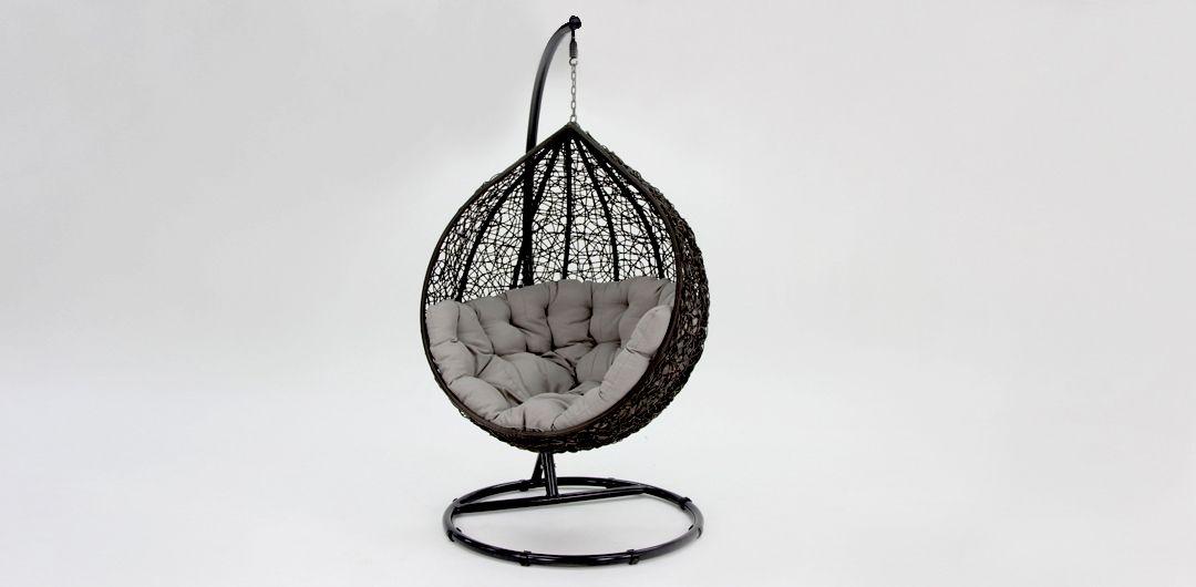 Kakadu premium pod chair black pod with grey cushion