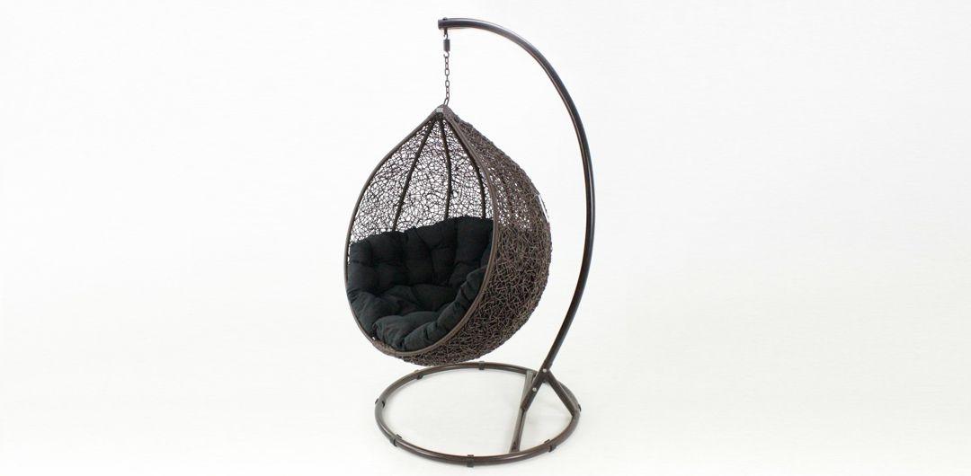 Kakadu premium pod chair brown pod with black cushion