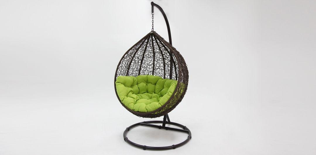 Kakadu premium pod chair brown pod with green cushion