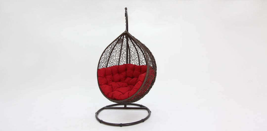 Kakadu premium pod chair brown pod with red cushion