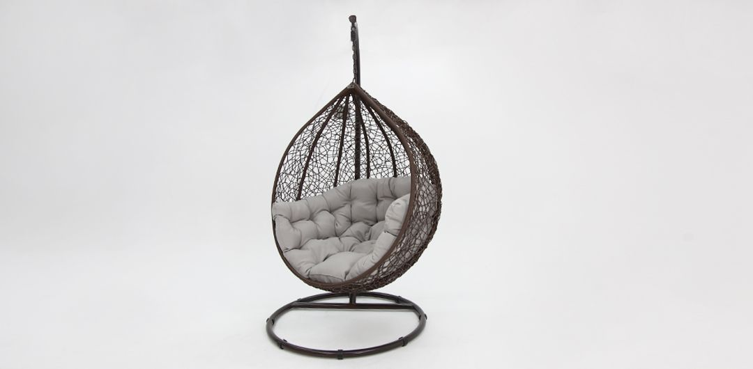 Kakadu premium pod chair brown pod with grey cushion
