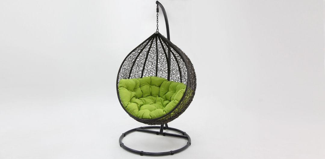 Kakadu premium pod chair grey pod with green cushion