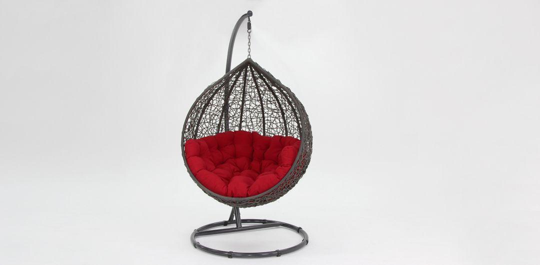 Kakadu premium pod chair grey pod with red cushion