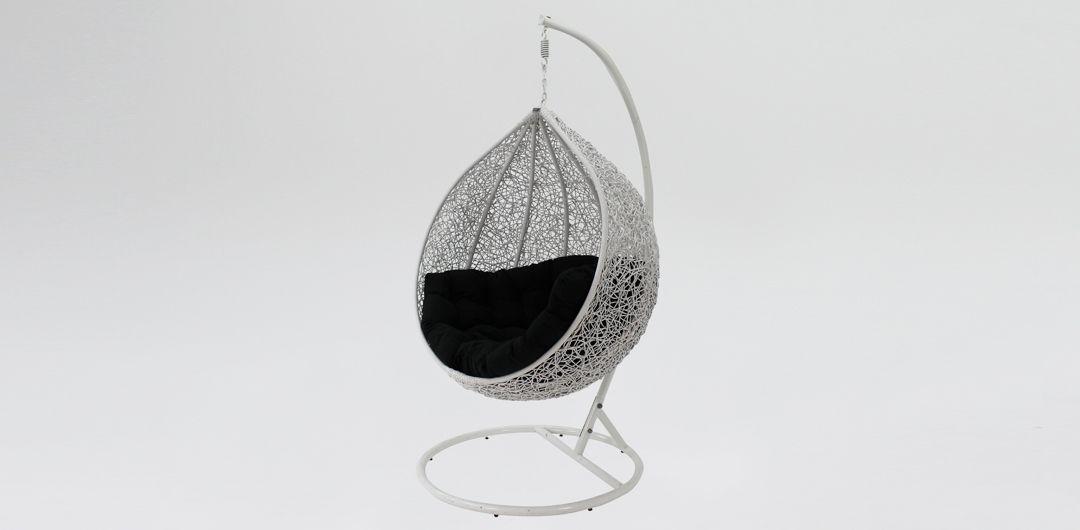 Kakadu premium pod chair white pod with black cushion
