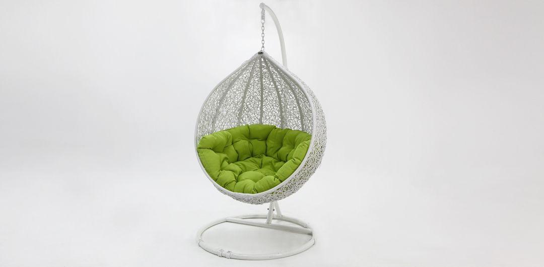 Kakadu premium pod chair white pod with green cushion
