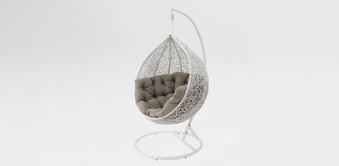Kakadu premium pod chair white pod with mushroom cushion