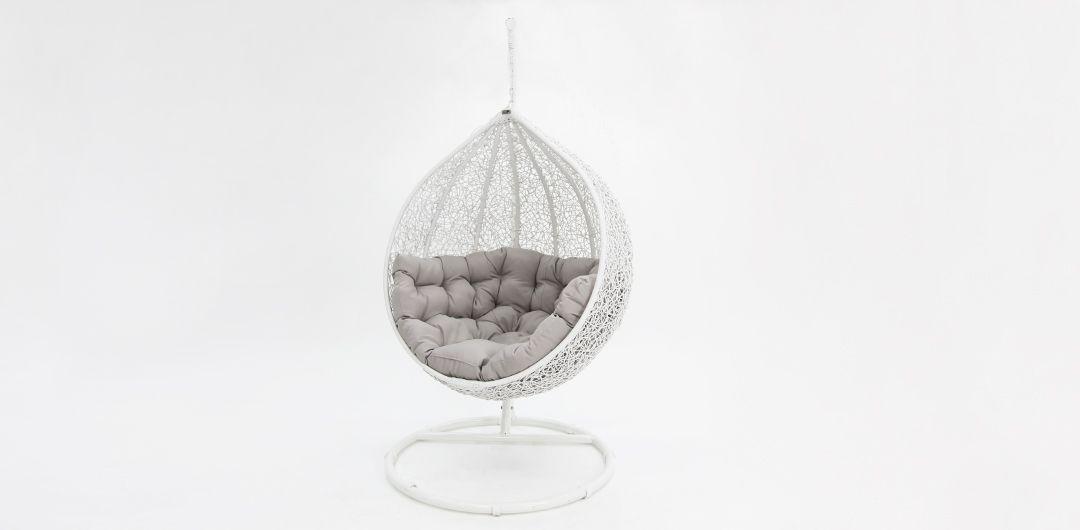 Kakadu premium pod chair white pod with grey cushion