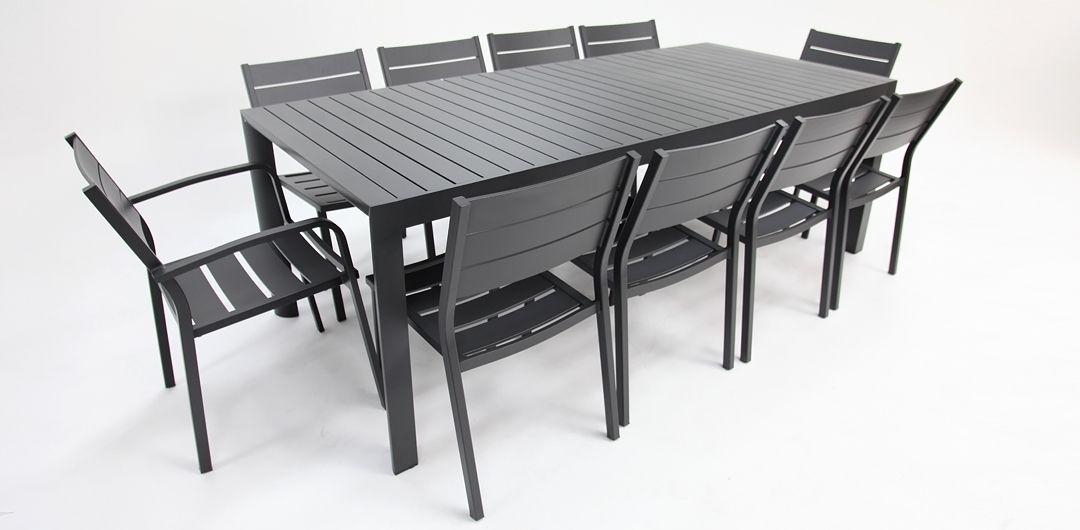 Kingsville 11 piece extendable dining setting gunmetal