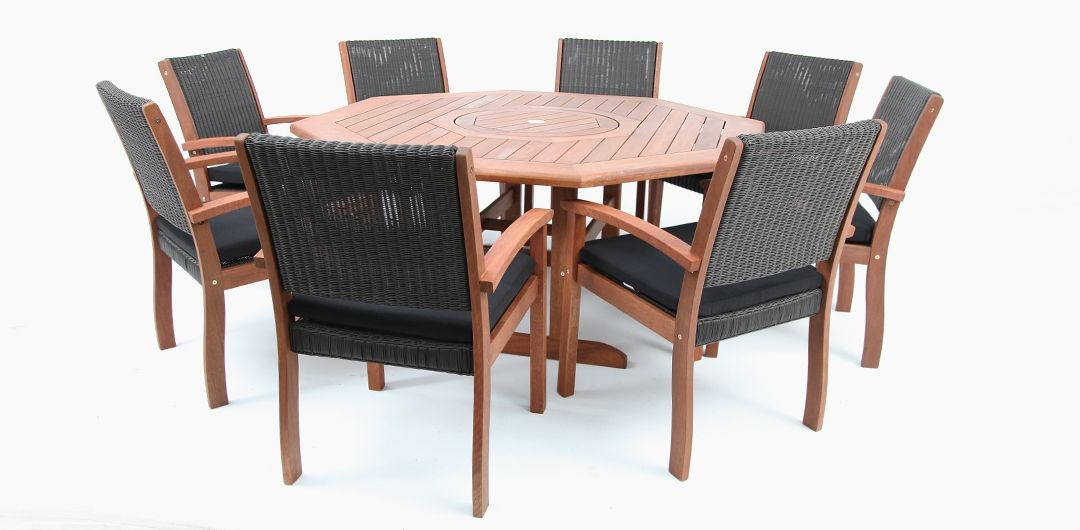 Kingswood 9 piece timber dining setting